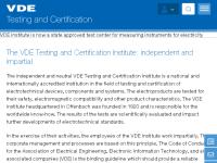 Prüf- und Zertifizierungsinstitut des Verb. d. Elektrotechnik Elektronik Informationstechnik (VDE) e.V.